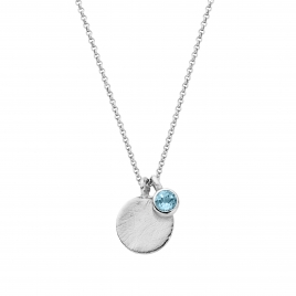 Silver Blue Topaz Moon & Stone Necklace