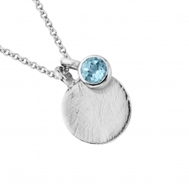 Silver Blue Topaz Moon & Stone Necklace detailed