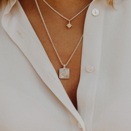 Silver Medium Capricorn Horoscope Necklace detailed