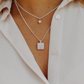 Silver Medium Taurus Horoscope Necklace detailed