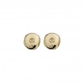 Gold Mini Disc Stud Earrings