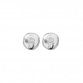 Silver Mini Disc Stud Earrings