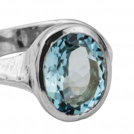 EOS Aquamarine Silver Ring detailed