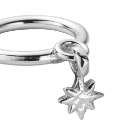 Silver Falling Baby North Star Ring detailed
