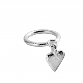 Silver Falling Mini Heart Ring
