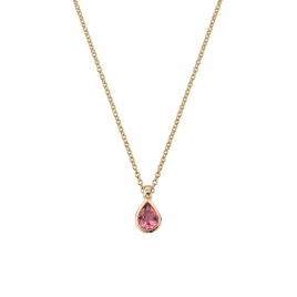 GAIA Gold Pink Tourmaline Teardrop Necklace