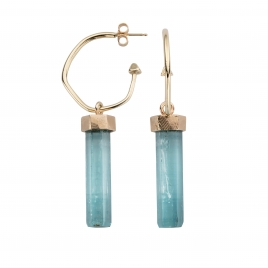 GELIDA Gold Aquamarine Drop Earrings