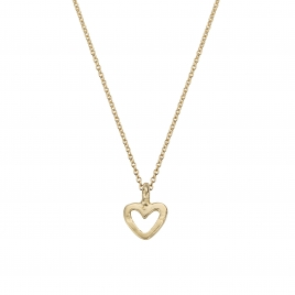 Gold Mini Open Heart Necklace