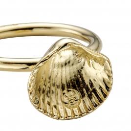 Gold Love Struck Mini Shell Ring detailed