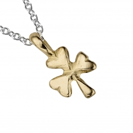 Silver & Gold Baby Shamrock Necklace detailed