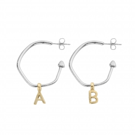 Maxi Cupid Hoops With Gold Alphabet Charms