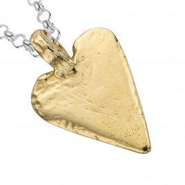 Silver & Gold Midi Heart Necklace detailed