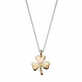 Silver & Gold Large Shamrock Necklace