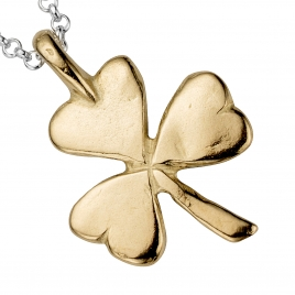 Silver & Gold Large Shamrock Necklace detailed