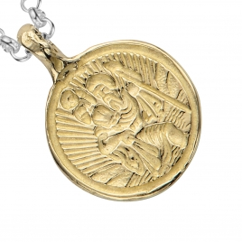 Silver & Gold Medium St Christopher Necklace detailed