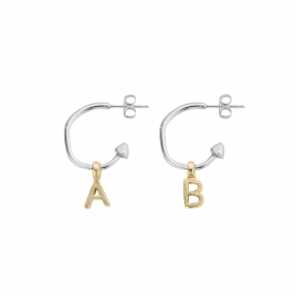 Mini Cupid Hoops With Gold Alphabet Charms