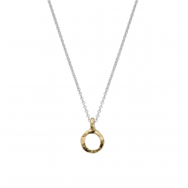 Silver & Gold Mini Open Circle Necklace