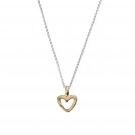 Silver & Gold Mini Open Heart Necklace