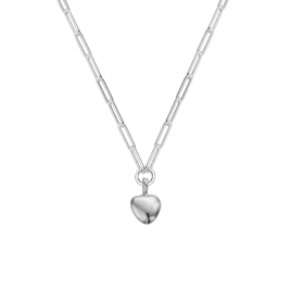 Silver Grateful Heart Trace Chain Necklace