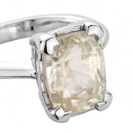 HAUKEA White Sapphire White Gold Ring detailed