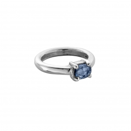 LANI Silver Oval Blue Sapphire Claw Ring