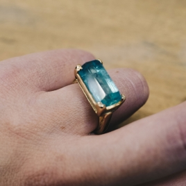 MAUI Gold Aquamarine Claw Ring detailed
