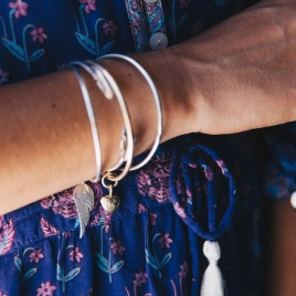Silver & Gold Maxi Grateful Heart Bangle detailed