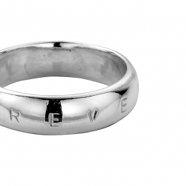 Mens Silver Arch Wedding Band detailed