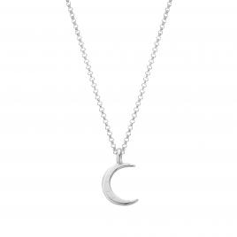 Silver Medium Crescent Moon Necklace
