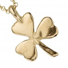 Gold Large Shamrock Necklace detailed