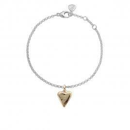 Silver & Gold Mini Heart Chain Bracelet