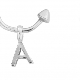 Mini Cupid Hoops with Alphabet Charms detailed
