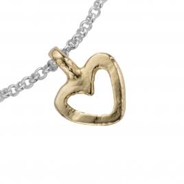Silver & Gold Mini Open Heart Chain Bracelet detailed