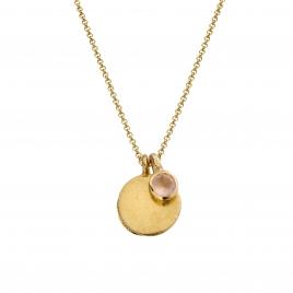 Gold Rose Quartz Moon & Stone Necklace