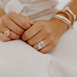 Silver Love Struck Mini Heart Ring detailed
