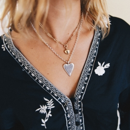 Silver Maxi Heart Necklace detailed