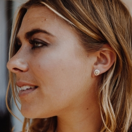 Silver Mini Disc Stud Earrings detailed