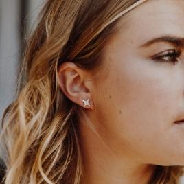 Silver Mini Kiss Stud Earrings detailed