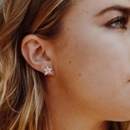 Silver Mini Star Stud Earrings detailed
