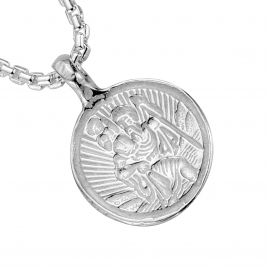 Silver Medium St Christopher Snake Chain Necklace detailed