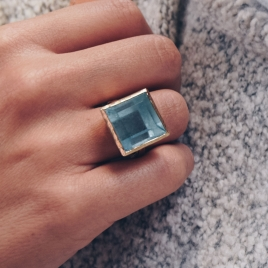 THETIS Aquamarine Gold Ring detailed