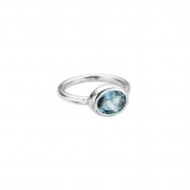 Silver Blue Topaz Baby Treasure Ring