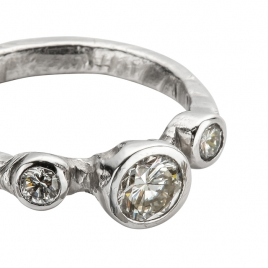 Cinderella Platinum Trio Diamond Ring detailed