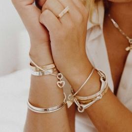 Silver & Gold Mini Open Heart Bangle detailed