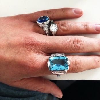 NILAK White Gold Aquamarine & Diamond Ring detailed