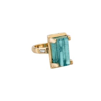 AETHRA Aquamarine & Diamond Gold Claw Ring
