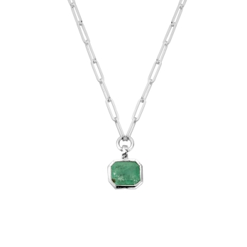 OLOMANA Silver Emerald Trace Chain Necklace