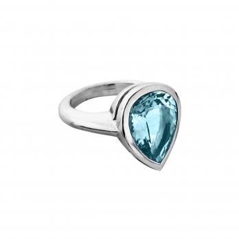 ALDA White Gold Pear Aquamarine Ring
