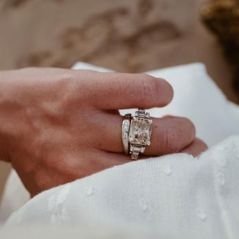 ALECTRONA White Gold Smoky Diamond Ring detailed