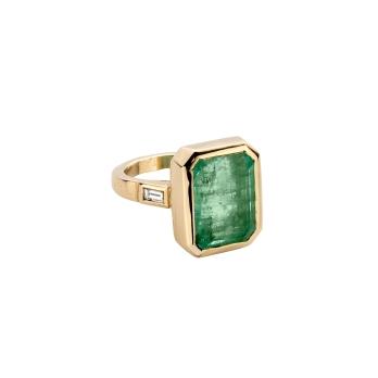 ANASTASIA Emerald & Diamond Gold Ring